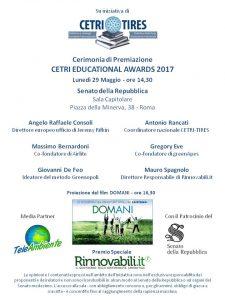 Locandina Cerimonia CETRI Educational Awards con il Patrocinio del Senato - 29 maggio 2017
